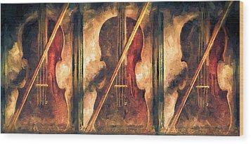 Three Violins Wood Print by Bob Orsillo