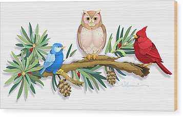 Three Watchful Friends Wood Print