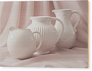 Wood Print featuring the photograph Three White Pitchers by Sandra Foster
