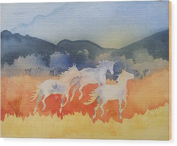 Three Wild Horses Wood Print by Christine Lathrop