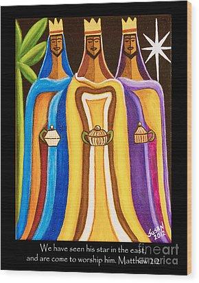 Three Wise Men Follow The Star Wood Print