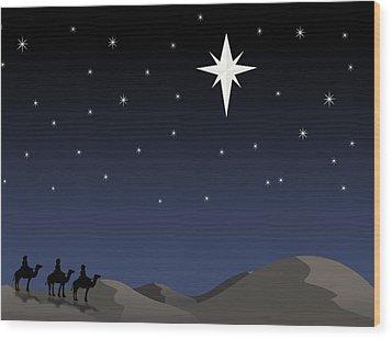 Three Wisemen Following Star Wood Print by Daniel Sicolo