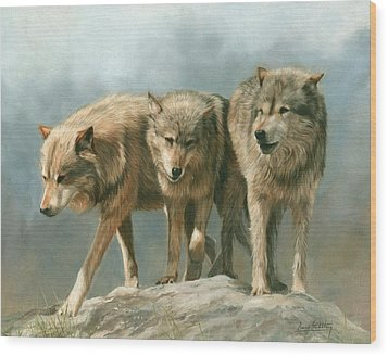 Three Wolves Wood Print by David Stribbling