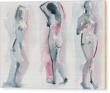Three Women Pink And Blue Watercolor Nude Figure Painting Wood Print by Beverly Brown
