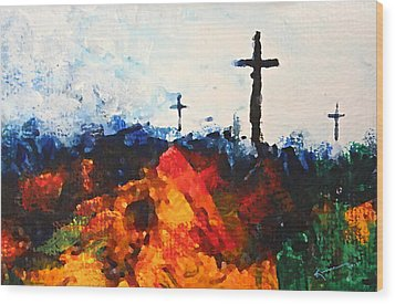 Three Wooden Crosses Wood Print by Kume Bryant