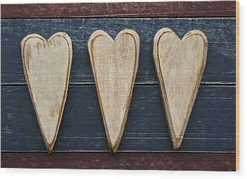 Three Wooden Hearts Wood Print by Carol Leigh