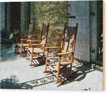 Three Wooden Rocking Chairs On Sunny Porch Wood Print by Susan Savad