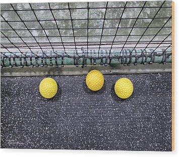 Three Yellow Balls Wood Print by Patricia Januszkiewicz
