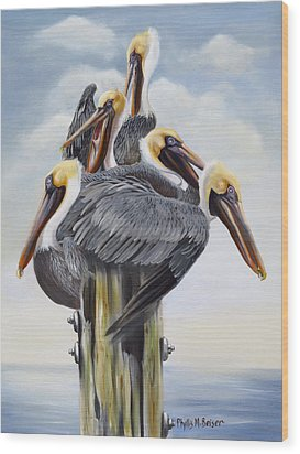 Threes A Crowd Wood Print by Phyllis Beiser