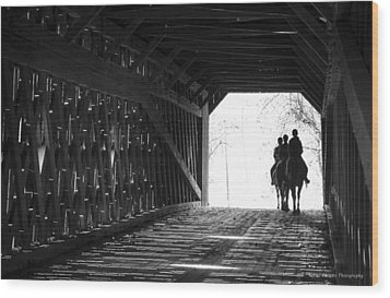 Wood Print featuring the photograph Through A Covered Bridge by Phil Abrams