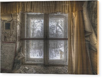 Through The Dirty Window Wood Print by Nathan Wright