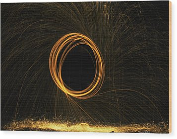 Through The Fire And Flames Wood Print by Diaae Bakri