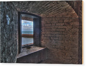 Through The Fort Window Wood Print by Andres Leon