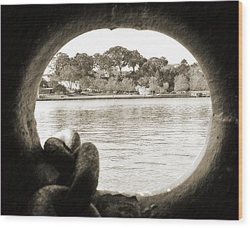 Through The Porthole Wood Print by Holly Blunkall