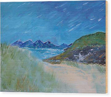Wood Print featuring the painting Through The Sand Dunes by Martin Blakeley