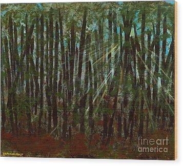 Through The Trees Wood Print by Hillary Binder-Klein