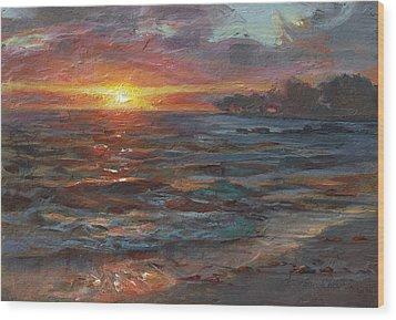Through The Vog - Hawaii Beach Sunset Wood Print by Karen Whitworth