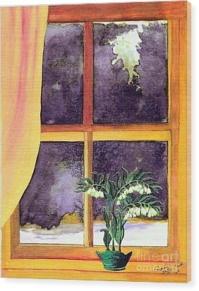 Wood Print featuring the painting Through The Window by Patricia Griffin Brett