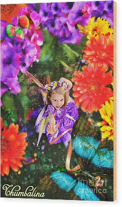 Thumbelina Looks Up Holding Her Butterfly In Fairy Tale Garden Wood Print by Fairy Tales Imagery Inc