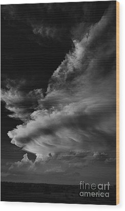 Thunder Cloud Wood Print by Karen Slagle