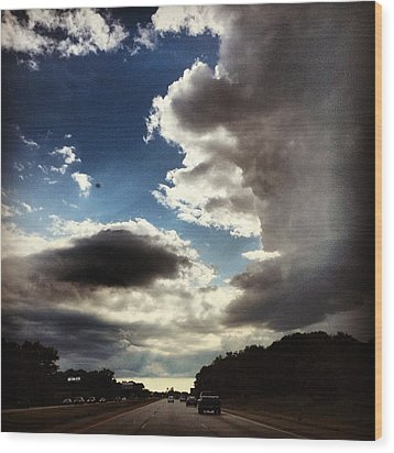 Thunder Clouds Wood Print by Christy Beckwith