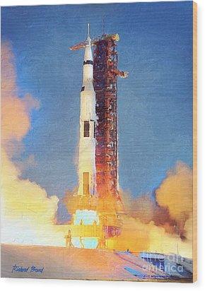 Thunder Of Apollo Saturn V Wood Print