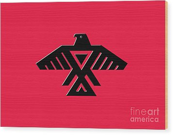 Thunderbird Emblem Of The Anishinaabe People Black On Red Version Wood Print