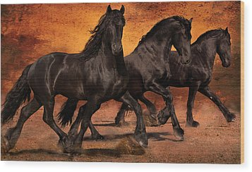 Thundering Hooves Wood Print by Jean Hildebrant