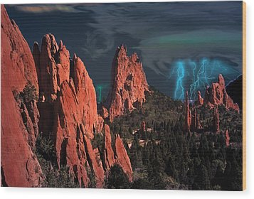 Thunderstorm At Garden Of The Gods Wood Print by J Griff Griffin