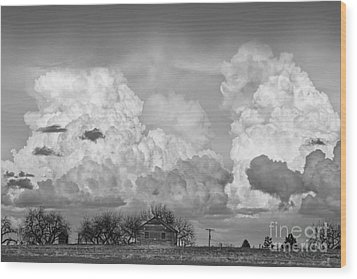 Thunderstorm Clouds And The Little House On The Prarie Bw Wood Print by James BO  Insogna