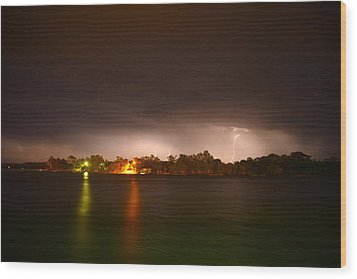 Thunderstorm On The Hasting River Wood Print