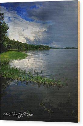 Thunderstorm On The Water Wood Print by Bonita Moore
