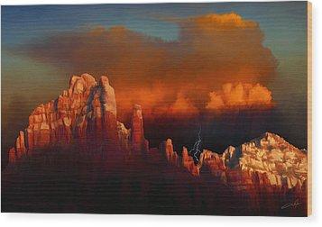 Thunderstorm Over Sedona Wood Print by Dale Jackson