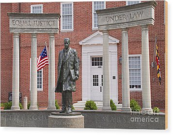 Thurgood Marshall Statue - Equal Justice For All Wood Print