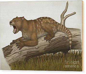 Thylacoleo Carnifex, A Marsupial Wood Print by Heraldo Mussolini