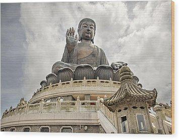 Tian Tan Buddha Wood Print by David Gn