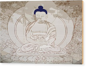 Tibet Buddha Wood Print by Kate McKenna