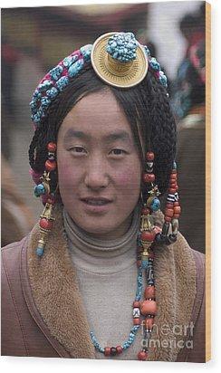 Tibetan Beauty - Kham Wood Print by Craig Lovell