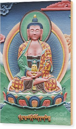 Tibetan Buddhist Deity Sculpture Wood Print by Tim Gainey