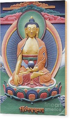 Tibetan Buddhist Deity Wall Sculpture Wood Print by Tim Gainey