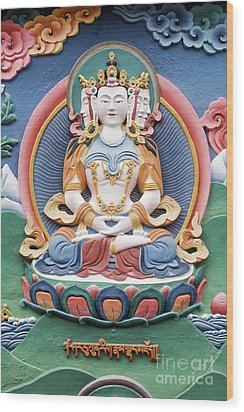 Tibetan Buddhist Temple Deity Sculpture Wood Print by Tim Gainey