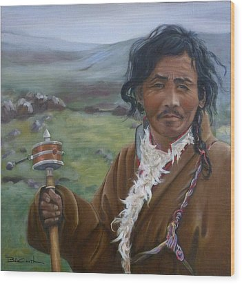Tibetan Nomad With Prayer Wheel Wood Print by Birgit Coath
