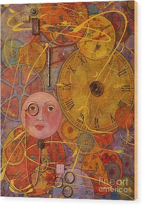 Wood Print featuring the painting Tic Toc by Jane Chesnut