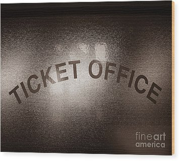 Ticket Office Window Wood Print by Olivier Le Queinec