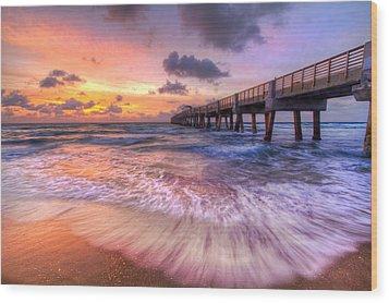 Tidal Lace Wood Print by Debra and Dave Vanderlaan