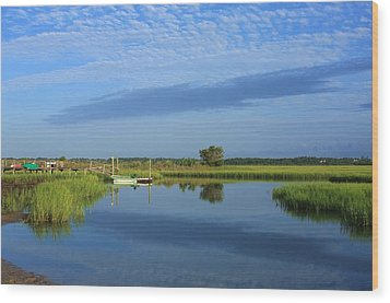 Tidal Marsh At Wrightsville Beach Wood Print by Mountains to the Sea Photo