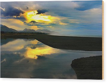 Wood Print featuring the photograph Tidal Pond Sunset New Zealand by Amanda Stadther