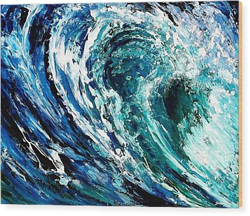 Tidal Wave Wood Print by Suzanne King