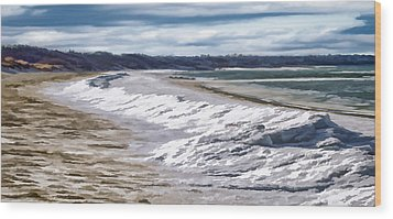 Wood Print featuring the photograph Tide Line Ice Photo Art by Constantine Gregory
