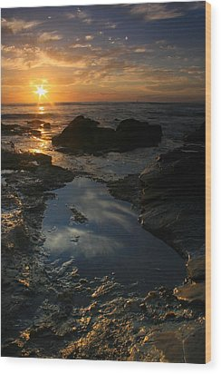 Tide Pool Reflection Wood Print